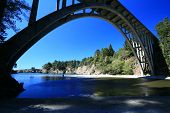 stock photo of mendocino  - Bridge on highway 1 at Russian Gulch State Park in Mendocino - JPG