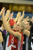 DEBRECEN, HUNGARY - JULY 9: Hungarian players celebrate at a CEV European League woman's volleyball