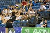 DEBRECEN, HUNGARY - JULY 9: Zsuzsanna Jozsa (in black 4) in action at a CEV European League woman's volleyball game Hungary (black) vs Israel (white) on July 9, 2011 in Debrecen, Hungary.