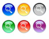 Six Color Search Crystal Icon And Button