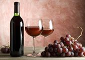 red wine bottle and glasses background