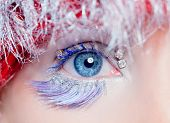 winter makeup concept on blue woman eye in silver blue and red hair