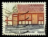 DENMARK-CIRCA 1974:A stamp printed in DENMARK shows image of House Hans Christian Andersen,  was a Danish author, fairy tale writer, poet, circa 1974.