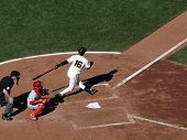 Giants Batter Edgar Renteria Swing And Misses Pitch