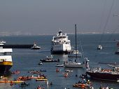 Mccovey Cove Fill With Boats, Kayaks, And People Having Fun
