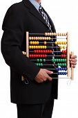 Office clerk or accountant holding an abacus over white background