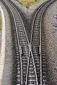 stock photo of divergent  - Divergence of Harz narrow gauge railway tracks Germany - JPG