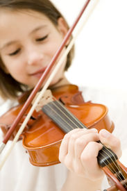 image of string instrument  - young girl with violin isolated on white background - JPG