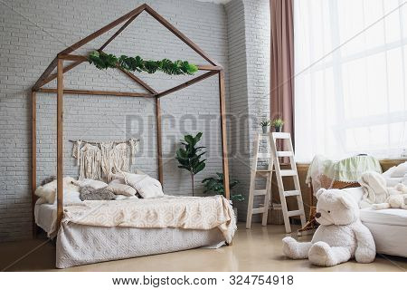 poster of Cosy Bedroom With Eco Decor. Wood And Nature Concept In Interior Of Room. Scandinavian Interior, Rea