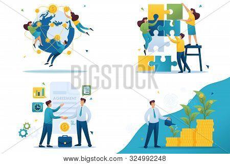 poster of Set Flat 2d Concepts Teamwork, Investment Company, Investment And Growth, Business Agreement.. For C