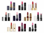 Color Lipsticks Palette Of Red, Pink, Brown Color. Vector Assortment Of Glossy Lipsticks In Tubes, P poster