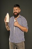 Thumbs Up For Health. Bearded Man Keeping Milk Diet For His Health. Happy Hipster Liking Health Liqu poster