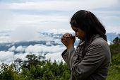 Girl Enjoying Nature And Praying To God. poster