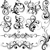 picture of scroll design  - illustration drawing of floral background with grunge texture - JPG