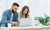Family Budget. Young Couple Using Laptop For Managing Expanses And Making Notes, Free Space poster