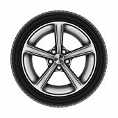 Auto Tyre Or Isolated Automobile Wheel On White. Car Tire Or Automotive Tire With Star Disk. Bus Or  poster