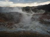 Geothermal Fumarole And Colorful Rhyolit Mountain With Multicolored Volcanos. Sunrise In Landmannala poster