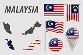Malaysia. Set Of National Infographics Elements With Various Flags, Detailed Map, Pointer, Button An poster
