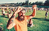 Summer Fest. Hipster In Cap Happy Celebrate Event Fest Or Festival. Man Bearded Hipster In Front Of  poster