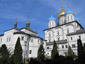 Moscow. Novospassky monastery. Pokrovsky temple and Preobrazhensky Cathedral.