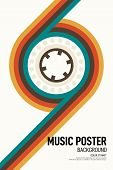 Music Poster Design Template Background With Cassette Tape Vintage Retro Style. Graphic Design Eleme poster