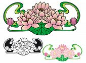 pic of art nouveau  - Art Nouveau style ornament of three water lilies - JPG