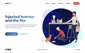 Boy And Woman Feeding Cat In Kitchen Landing Page. Working Mother, Childcare, Animal. Efficiency Con poster