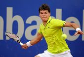 BARCELONA - APRIL, 25: Canadian tennis player Milos Raonic in action during his match against Igor A