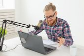 Radio Host, Streamer And Blogger Concept - Handsome Man Working As Radio Host At Radio Station Sitti poster