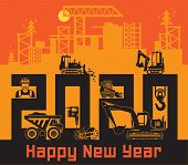 Industrial Building Construction Machinery, Happy New Year 2020 Card, Vector Illustration poster