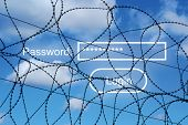 Internet concept showing password login in sky behind razor wire