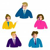 People Talking Phone. Business People, Man And Woman Office Person. Male And Female Calling By Telep poster