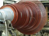 Power Generator Steam Turbine In Repair Process, Machinery, Pipes, Tubes, At An Power Plant poster