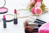 Gift Cosmetic.  Makeup Cosmetics Tools Background And Beauty Cosmetics, Products And Facial Cosmetic poster