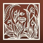 Laser Cut Panel Template, Anstract Floral Pattern. Stencil For Wood Or Metal Cutting, Carving, Paper poster