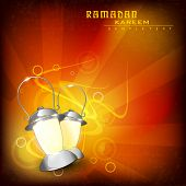 Ramadan Kareem background with lantern on abstract rays background with copy space for your text. EP