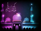 Arabic Islamic calligraphy of Eid Mubarak text with Mosque or Masjid on modern abstract background w