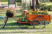 Beautiful Floral Bouquet On The Bicycle