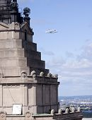 NEW YORK - Oct 8: The space shuttle Enterprise mounted on NASA's 747 Shuttle Carrier Aircraft flies