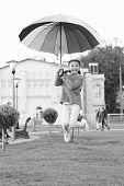 Sense Of Freedom. Multicolored Umbrella For Little Free Happy Girl. Little Girl Free With Umbrella.  poster