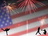 Patriotic Baseball Silhouette