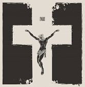 Vector Banner On The Religious Theme With Crucifixion. Abstract Religious Illustration With Crucifie poster