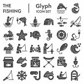 Fishing Glyph Icon Set, Fisherman Equipment Symbols Collection, Vector Sketches, Logo Illustrations, poster