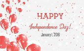 Japan Independence Day Greeting Card. Flying Balloons In Japan National Colors. Happy Independence D poster