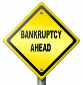 bankruptcy ahead debt relief consolation or restruction liquidation  and financial bankrupt, yellow