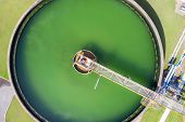 Aerial View Of The Solid Contact Clarifier Tank Type Sludge Recirculation In Water Treatment Plant I poster