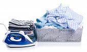 Basket With Folded Laundry And Stack Folded Clothing On White Background Isolation poster