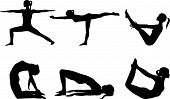 stock photo of dhanurasana  - Yoga series silhouettes 3 - JPG