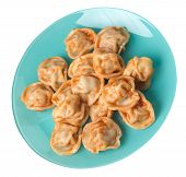 Dumplings On A Turquoise Plate Isolated On White Background. Dumplings In Tomato Sauce. Dumplings To poster