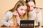 Delicate Make-up Emphasizing The Beauty Of The Models. Small Make-up Artists. Little Girls Doing Fac poster